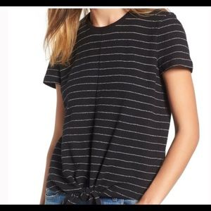 Tops - Madewell Black White Striped Modern Tie Front Tee